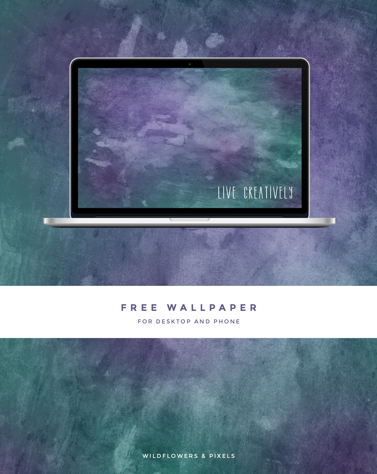 Live Creatively Free Wallpaper - This week the wallpaper features two gorgeous colours and a textured style background.  I  have been embracing a creative lifestyle recently so I added the 'Live Creatively' text as a gentle reminder.