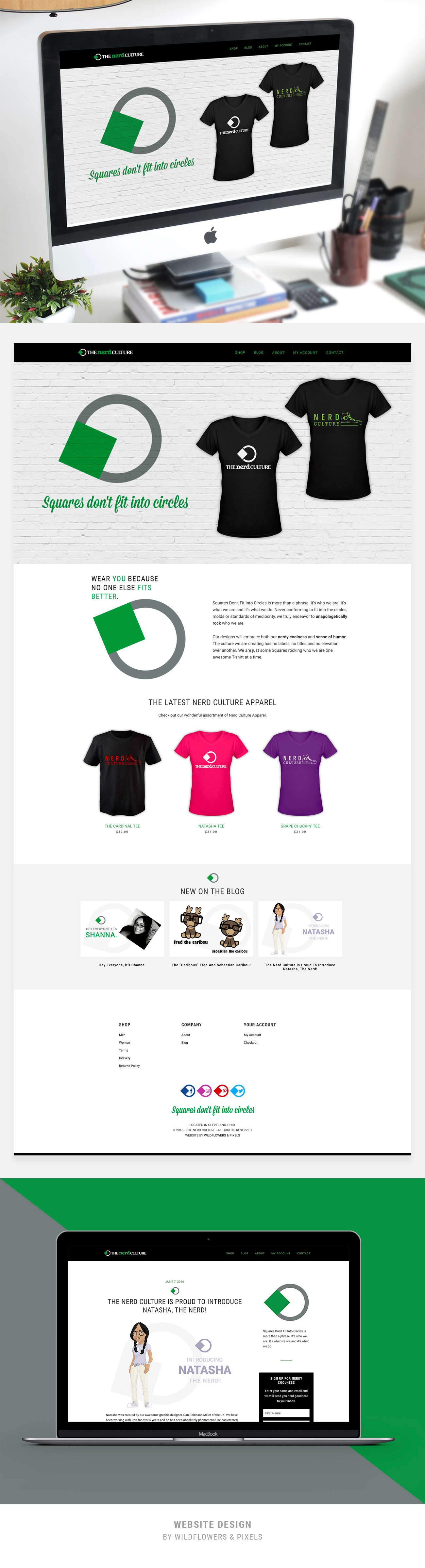 Website Design + Ecommerce For The Nerd Culture by Wildflowers & Pixels