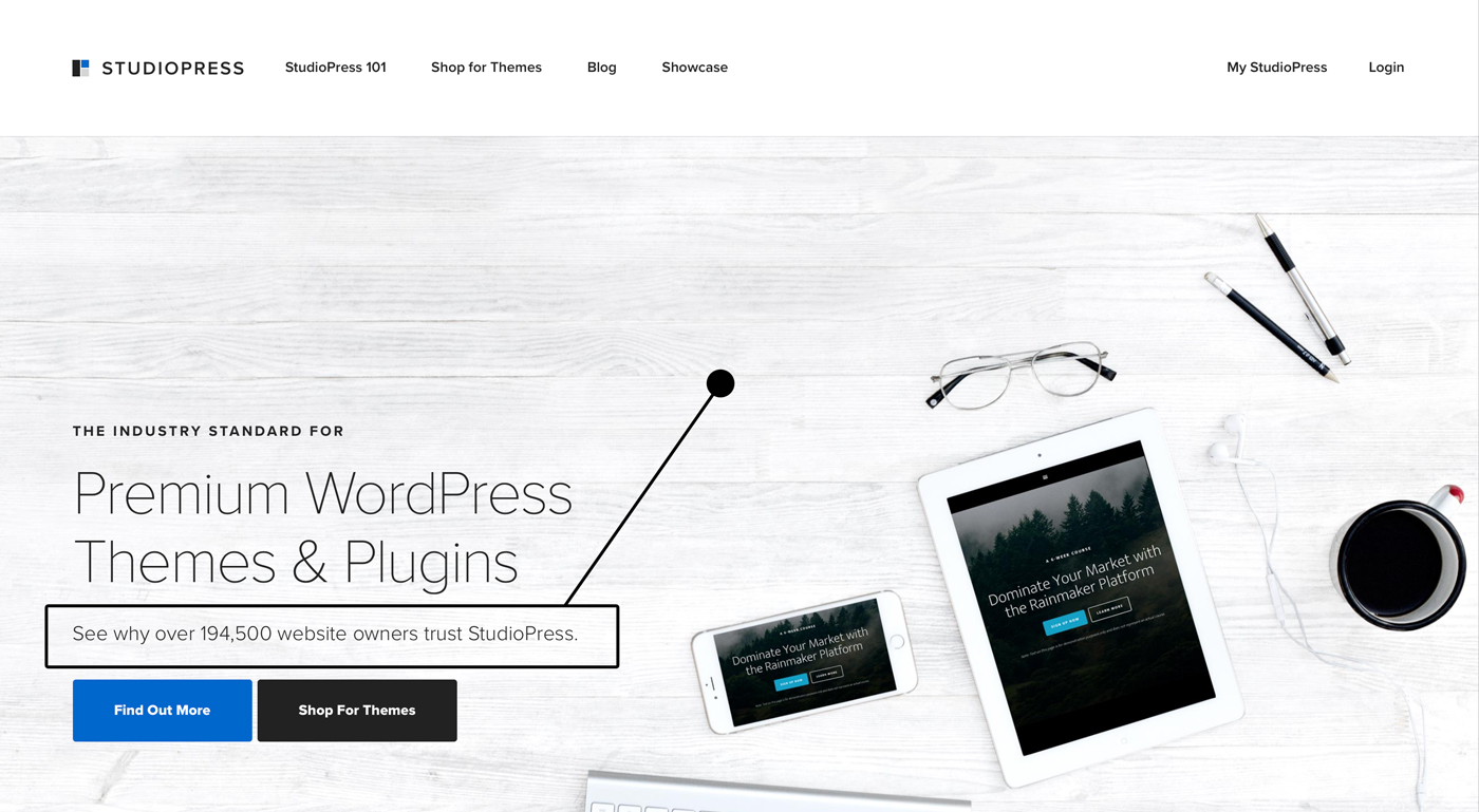 Studiopress showing their WordPress theme domination by display number of website owners using their products.