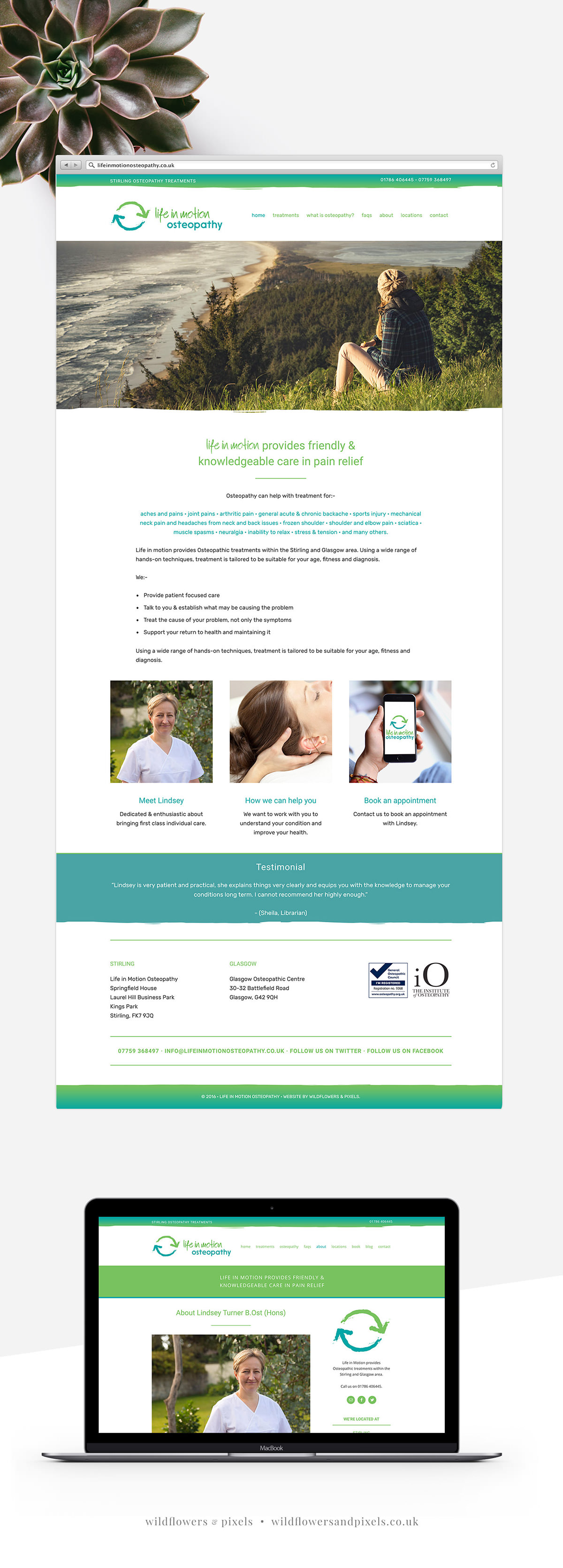 Website & logo design project for Life In Motion Osteopathy. Providing website design and branding to small businesses.